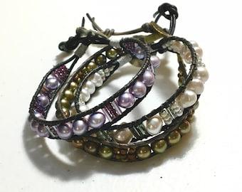 Freshwater Pearl Wrap Cuffs, June Birthstone Pearl Bracelet, Lavender Pale Gray or Bronze, Original Wearable Art Jewelry, WillOaksStudio
