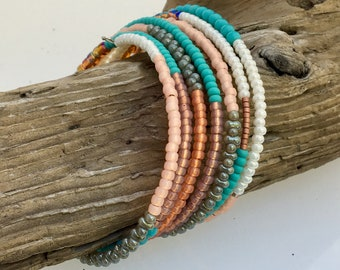 Summer Colors Glass Bead Wrap Cuff, Mix of Coral & Turquoise, Boho Style Texture Color, Steel Coil Memory Bracelet, Easy On Off, WillOaks