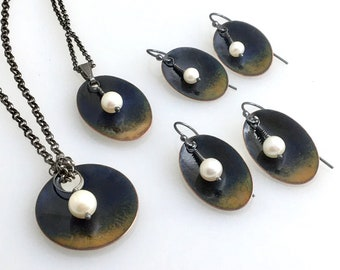 Twilight Moonrise Series, Copper Enameled Jewelry with White Freshwater Pearls, Dark Blue Enamel Earrings & Pendant, WillOaksStudio