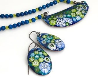 Enamel Pendant and Earring Set, Enameled Jewelry, Blue and Green Earrings and Copper Pendant On Long Beaded Chain, Flower Garden Design