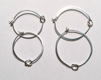 Knotted Silver Hoop Earrings, Creative Sterling Earring Hoops, Ready to Mail, Gift for Her