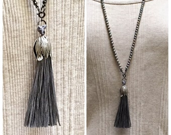 Silver Gray Freshwater Pearls, Long Layering Necklace and Silk Tassel Pendant, Handmade Silk Focal, Beaded Wrap Chain, Boho Spring Trend