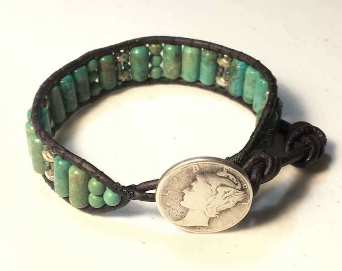 Featured listing image: Turquoise Beaded Leather Bracelet, Teal Stone Cuff, Coin Button, Original Artisan Jewelry, Wearable Art