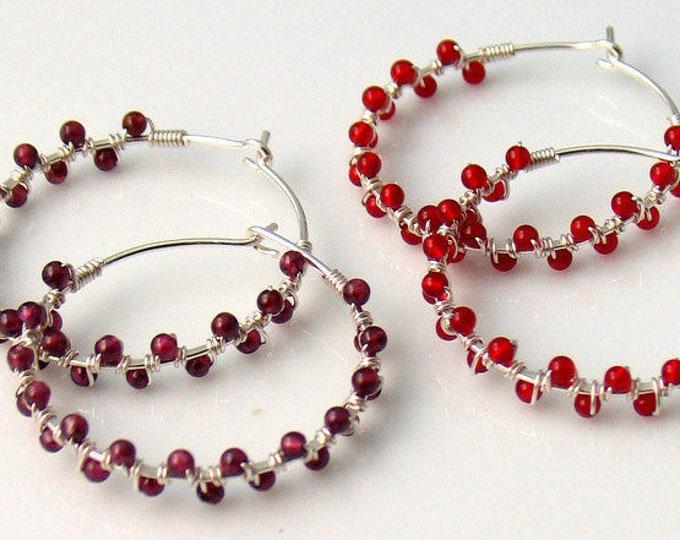 Featured listing image: Garnet or Carnelian Hoop Earrings, Red Stone Beaded Jewelry, Dark Red or Orange Red Dainty Handmade Hoops, Fun Fashion