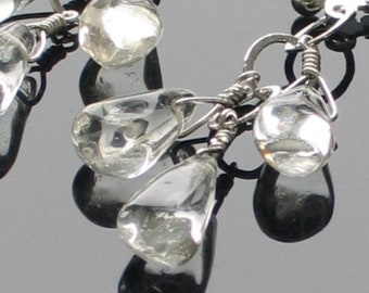 Crystal Quartz Dangle Earrings, Let It Rain, Handmade Triple Raindrops and Sterling Earrings