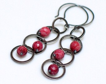 Swinging Pink Earrings, Rose and Gray Dangles, Artisan Original Long Mobile Earrings, Pink Lepidolite & Circles, Funky Fun Dangles