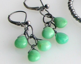 Chrysoprase Teardrops Oxidized Silver Dangle Earrings,, Minty Green, Aqua Green & Gray Earrings, Natural Stone Beads, Best Seller