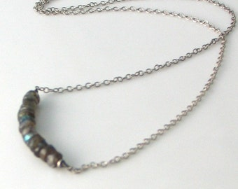 Labradorite Bar Necklace, Natural Raw Gemstones & Oxidized Sterling Silver Bar Pendant, Stacked Stones Series Original Artisan Design, Gift
