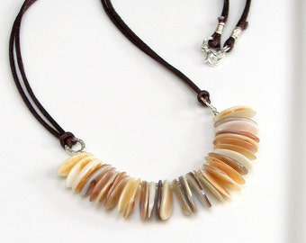 Natural Mother of Pearl Focal, Long Modern Pendant, Designer Fringe Bib, Cross Season Fashion, Neutral Colors