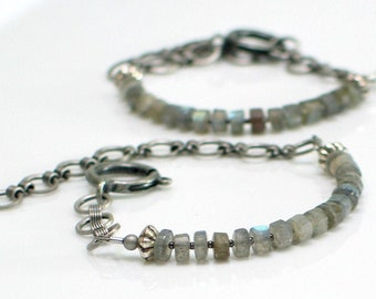 Labradorite Bracelet of Heishi Faceted Stone and Chain, Natural Stone Gray Cuff, Fashion Trend, Stacking Bracelet, WillOaks Studio Original