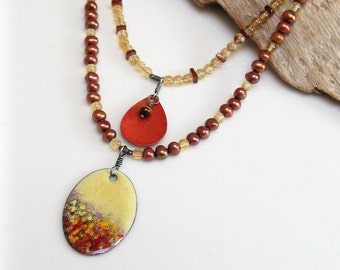Art Jewelry Necklace, Multi Strand Enamel Pendants, Pearls Gems and Leather Necklace, Handmade Original One of a Kind, Autumn Colors
