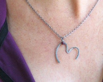 Open Heart Pendant IV Oxidized Cold Forged Silver