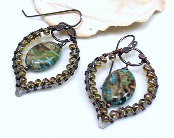 Beaded Chandelier Hoop Earrings, Hippie Dangles, Handmade Original Design, Mixed Metals Glass Jasper & Sterling Earrings, Gift for Her