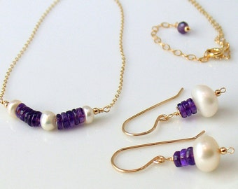 Amethyst and Pearl Bar Necklace and Earrings Set, Pearls and Gems with Gold Jewelry Set, Purple & White, Stacked Stones, February Birthstone