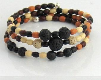 Last One, Lava Stone Bracelet #1, Essential Oils, Earthy Beaded Wrap Bracelet, Therapeutic Oils to Wear, Gift for Her, Boho Bracelet