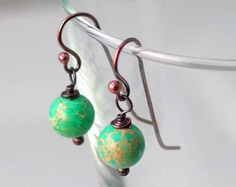 Small Green Stone Drop Earrings, Green Turquoise on Copper Ear wires, Artisan Copper Wire Work, Made by Hand Original