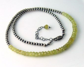 Green Garnet Necklace on Sterling Silver Beaded Chain, January Birthstone Necklace, Green Ombre Gemstone Necklace, Designer Gift for Her