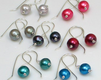Bright and Dark Freshwater Pearl Drop Earrings, Large Pearl Earrings Teal, Blue, Gray, Peacock, Red, Pink, Light Gray, Simple and Elegant