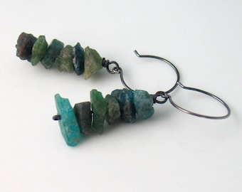 Teal Apatite Earrings, Natural Raw Stone, Green and Teal Stone Dangles, WillOaks Studio Original, Nature Fashion