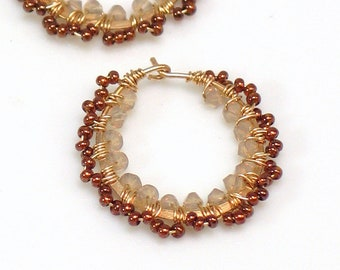 Golden Lacey Hoops, Opalized Crystals and Pearlized Glass Seed Beads, Gold Beige and Russet Brown Hoops, Feminine Artisan Handmade Earrings