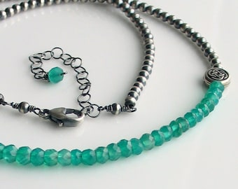 Emerald Green Celtic  Choker, Green Stones Sterling Chain, Oxidized Sterling Beaded Chain & Green Onyx, Irish Green, May Birthday