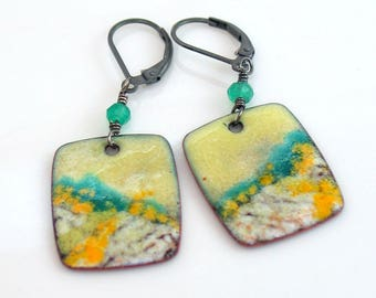 Spring Landscape Enameled Earrings in Yellow White and Green, Copper Enamel Dangles with Sterling Earwires, Original Art Jewelry, WillOaks