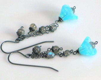 Flash Blue Flower Dangle Earrings, Labradorite Rain, Czech Glass & Stone Beads, Sterling Nature Fashion Earrings, EtsyGifts for Her