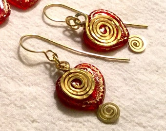 Red Czech Glass Heart Dangles, Valentine Heart Fun Earrings, Hand-formed Brass Spiral Peek-a-boo Heart, Unique Gift Ready to Mail