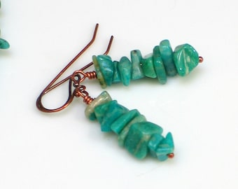 Teal Amazonite Stacked Stone Earrings, Rock Cairn, Raw Stone Jewelry Blue Green and Copper Dangle Earrings, Mountain Hiker Rock Climber
