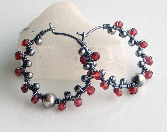 Featured listing image: Garnet Pinwheel Hoop Earrings, Oxidized Sterling Hoops with Garnets, Textured Garnet Earrings, January Birthday