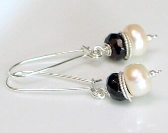 Freshwater Pearl and Gemstone Earrings, Birthstones & Pearls, Sterling Handmade Long Self-Latch Earrings