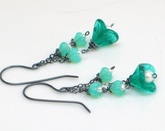 Teal Green & Aqua Glass Flowers and Freshwater Pearls, Oxidized Dangle Earrings, Fun Floral Fashion, Botanical Trend, Artisan Original