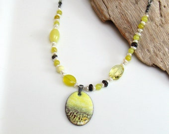 Colorful Landscape Impression Pendant, Chartreuse Sky Original Vitreous Enamel Necklace Gems and Leather, Wearable Art Jewelry