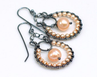 Peach Pearl Hoop Dangle Earrings, Beaded Dangles, Original Artisan Handmade Earrings, WillOaks Studio  Design, Gift for Her