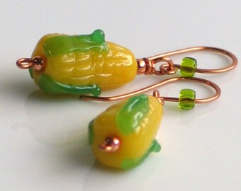 Corn on the Cob Lampwork Glass Dangle Earrings, Fall Fashion, Foodie, Farmer's Market, Thanksgiving Earrings, Fun Jewelry
