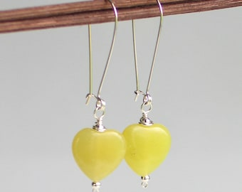 Yellow Heart Dangle Earrings, Olive Jade Stone on Long Self latch Sterling Silver Earrings, Chartreuse Earrings