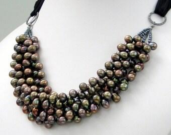 Bronze Brown Pearl Bib Necklace, Multistrand Statement Bib on Black Silk Ribbon, Rich Designer Necklace, Contemporary Classic Pearls