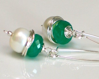 Long White Pearl Earrings, Green May  Birthday, June Birthstone, Sterling Silver Self Latch Pierced Earrings, Gorgeous Gift
