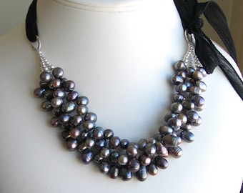 Dark Peacock Pearl Bib, Statement Multistrand Pearls on Black Silk Ribbon, Original Artisan Necklace, Deluxe Gift for Her