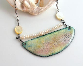 Copper Enamel Bar Pendant, Reversible, Abstract Atmosphere Pendant, Impressionist Shell Nature Necklace, WillOaks Studio WearableArt Jewelry