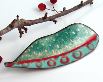Teal Leaf Pin with Red Circles, Copper Enamel Art Pin, Colorful Jewelry in Vitreous Enamel, Ready to Mail, Gift for Her, WillOaks Studio