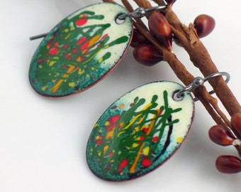 Bright Copper Enamel Dangle Earrings, Red & Yellow Floral Design, Handmade Original Vitreous Enamel on Metal, Painterly Earrings, Colorful