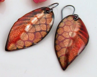 Textured Leaf Earrings, Rich Enamel Dangles, Copper Enamel Abstract Art Leaf Dangles, Patterns & Texture Nature Inspired, One of a Kind Gift