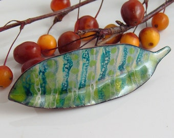 Big Green Enameled Pin, Striped Feather Art Brooch, Copper & Vitreous Enamel Artisan Jewelry, Ready to Mail Gift for Her, Handmade OOAK