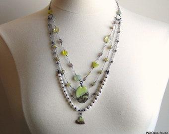 Art Jewelry, Multi Strand Chains with Copper Enamel Art Pendants, Bib Necklace, Layered Pearls & Gems, Handmade Artisan OOAK, Deluxe Gift
