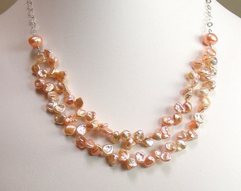 Natural Peach Keishi Petals and Sterling Silver, Keishi Pearl Bib Necklace, Rich Petal Bib Necklace, Deluxe Gift for Her, WillOaks Studio