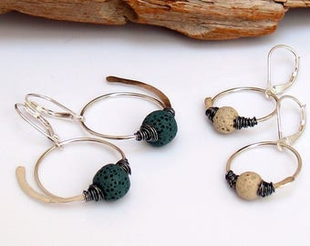 Lava Stone Diffuser Earrings, Sterling Silver Dangle Hoops, Essential Oils Jewelry by WillOaks Studio