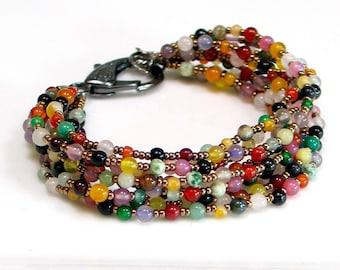 Bright Beaded Stone Bracelet, Multi Strand Mixed Agates and Dark Metallic Beaded Cuff, Bold Statement Cuff, Large Clasp, Bohemian
