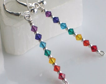 Rainbow Dangle Earrings, Yoga Chakra Crystals, Yogini Earrings, Sterling Silver Colorful Jewelry
