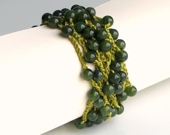 Crochet Stone and Silk Cuff in Dark Green Quartz, Hand Dyed Heavy Artisan Silk and Stone Cuff, Green Shades of Nature Silk Bracelet